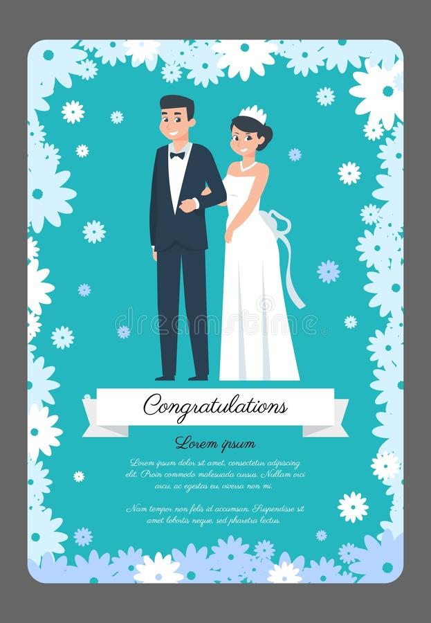 Groom and bride card. Cartoon wedding couple, invitation poster with happy characters. Vector wedding ceremony flat stock illustration