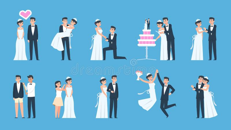 Groom and bride. Cartoon wedding couple in different scenes, preparing and celebrating. Vector dancing kissing and royalty free illustration