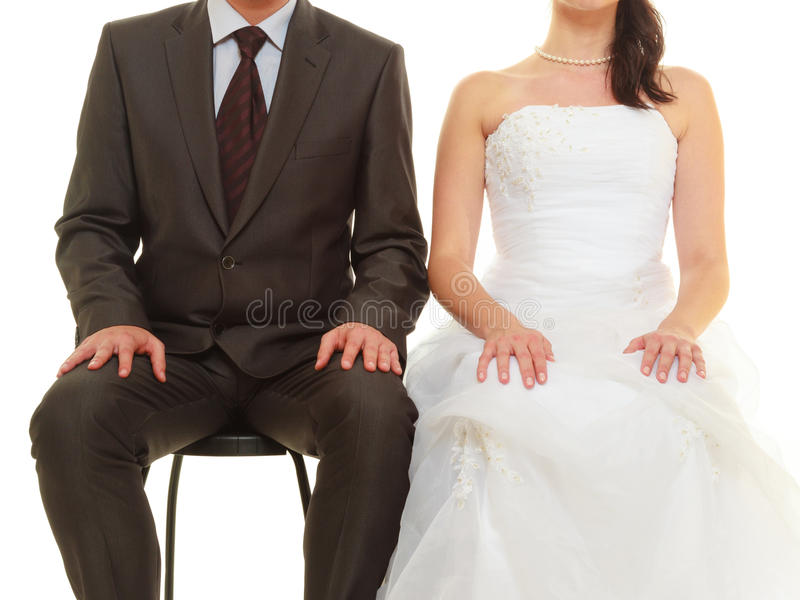 Groom and bride couple waiting for wedding royalty free stock photo