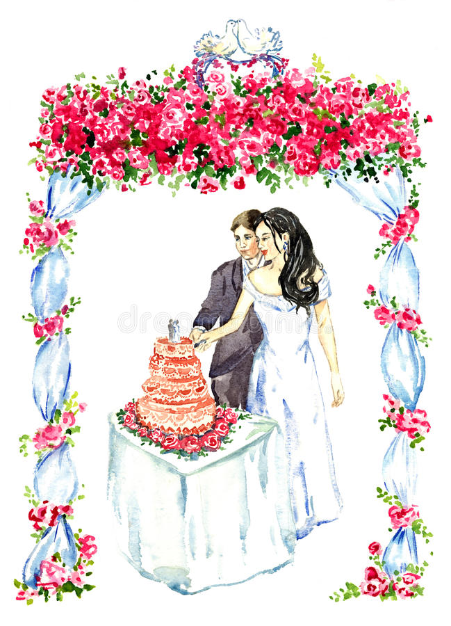 Groom and bride cutting pink wedding cake under gazebo decorated with red roses and two kissing pigeons on the top. Hand painted watercolor illustration, groom royalty free illustration