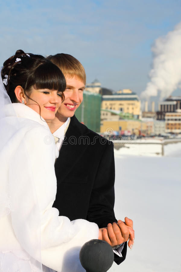 Groom And Bride Holding Hands At Winter Royalty Free Stock Photo