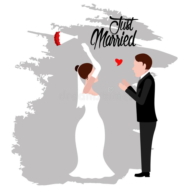 Groom and bride. Just married couple stock illustration