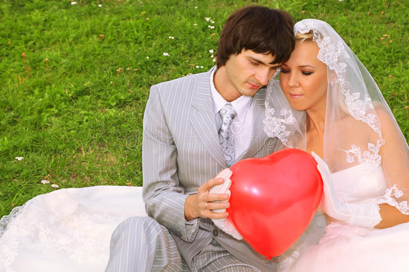 Download Groom And Bride Keep Red Balloon Heart Stock Photo - Image of hair, bride: 21830854