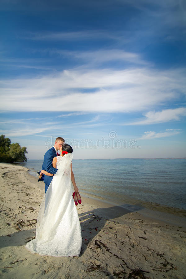 The groom and the bride are kissing on a beach royalty free stock photos
