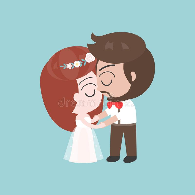 Groom and bride kissing, cute character for use as wedding invitation card or backdrop stock illustration