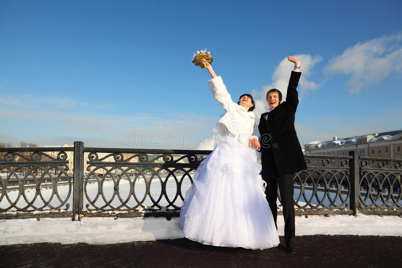 Download Groom And Bride Shouting And Waving Their Hands Stock Photos - Image: 22261753