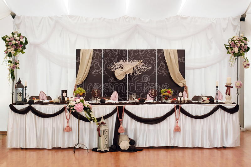 Groom and bride table royalty free stock image