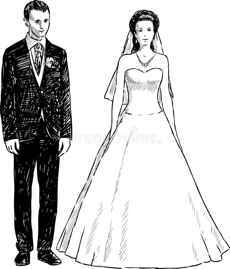 Groom and bride. Vector drawing of the happy newlyweds vector illustration