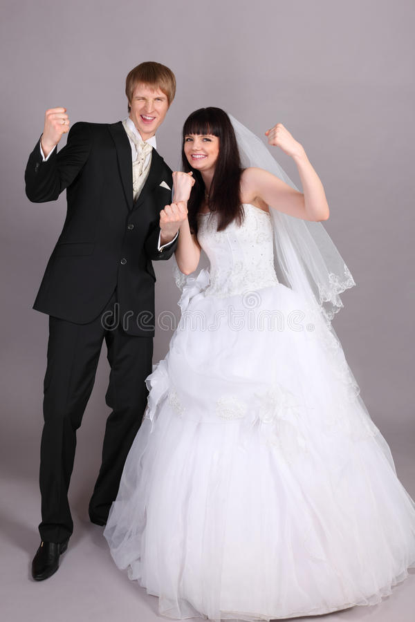 Download Groom And Bride Are Very Happy In Studio Stock Image - Image: 23996659
