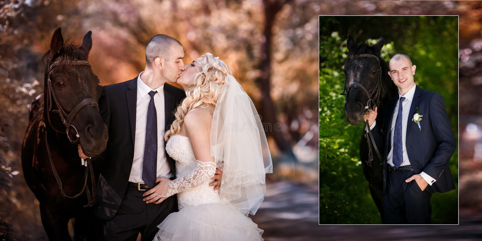 Groom and the bride during walk in their wedding day against a black horse stock images
