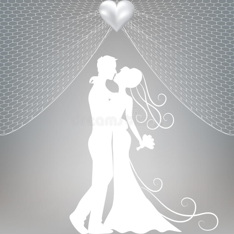 Groom and bride royalty free illustration