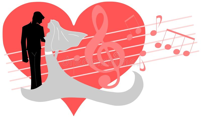 Groom and brides. Image representing a stylized couple of spouses, groom and bride, in an heart with notes and treble clef royalty free illustration