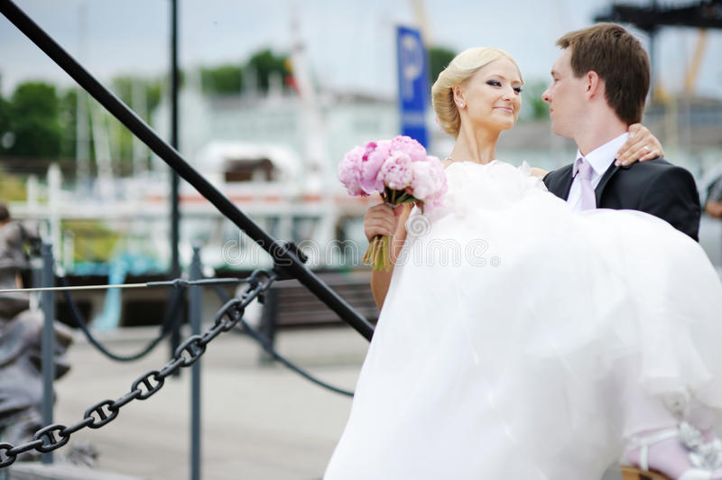 Download Groom Carrying His Beautiful Bride Stock Image - Image of clothing, bright: 22248219