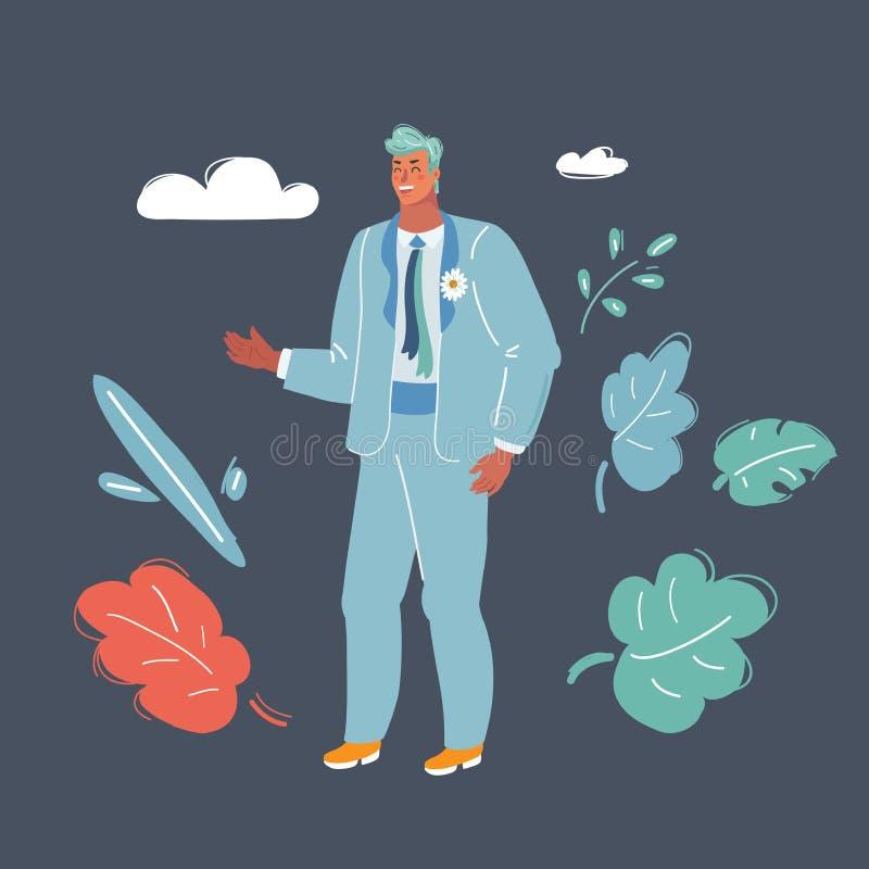 Groom character on dark. royalty free illustration