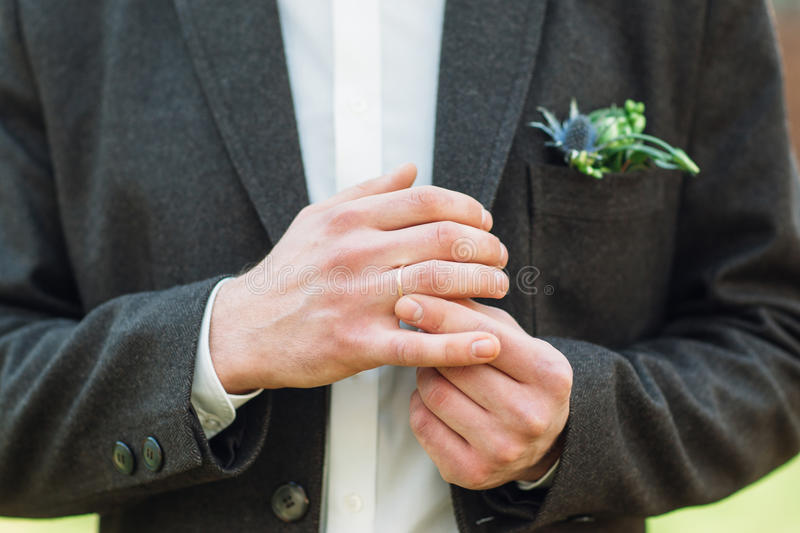 Groom Fit On His Wedding Ring Right Hand Stock Image Image of