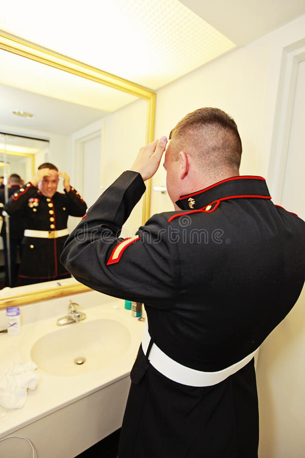 Groom getting ready royalty free stock images
