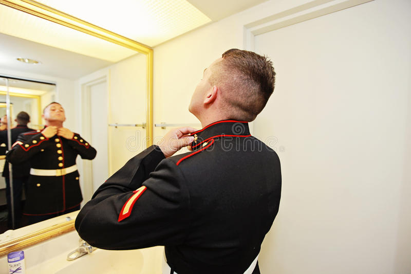 Groom getting ready royalty free stock image