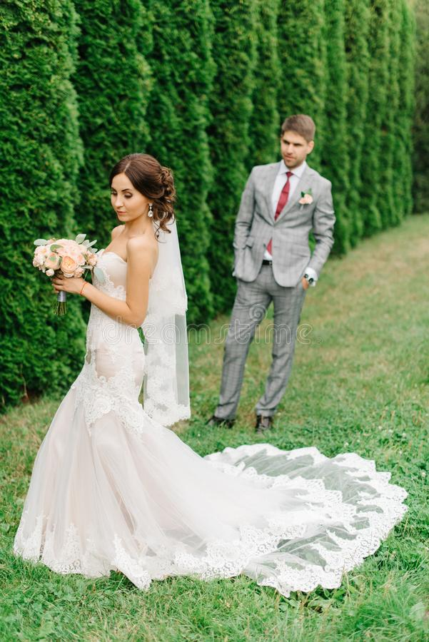 Groom in gray suit looks at bride standing on the lawn.  stock photography