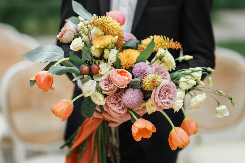 The Groom Hand Bouquet Of Fresh Flowers Close-up Stock Image - Image ...