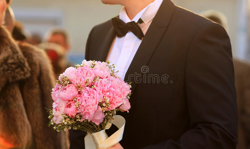Download Groom Holding Wedding Bouquet Stock Photo - Image: 40076524
