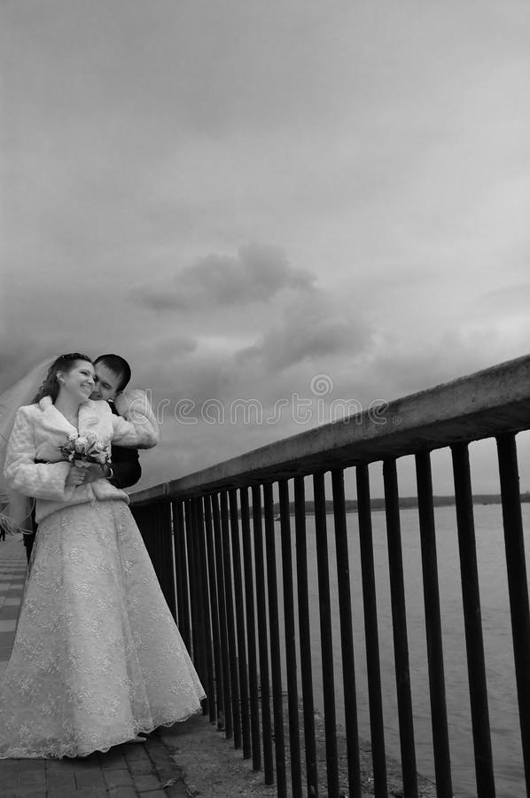 The groom kisses the bride on quay royalty free stock photo