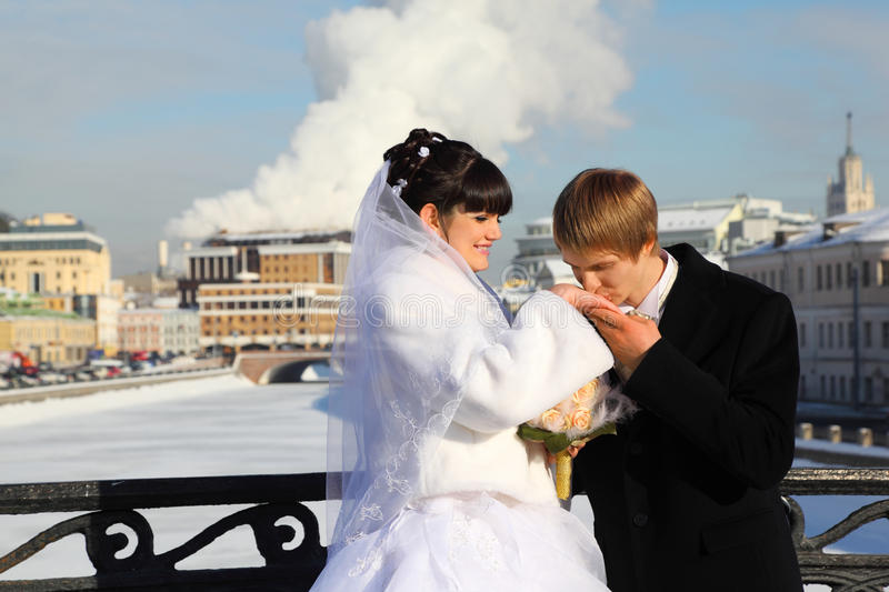 Download Groom Kissing Bride Hand At Winter Outdoors Stock Image - Image: 22261745