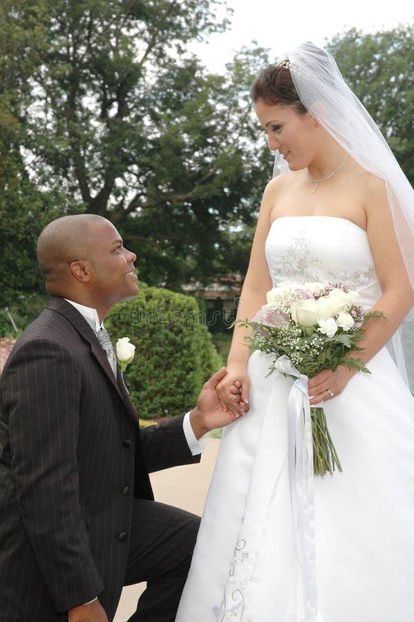 Groom Kneeling Stock Photo Image Of Look Eyes Bride