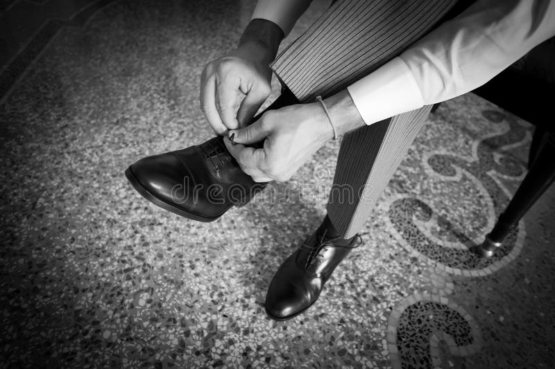 Groom shoes royalty free stock image