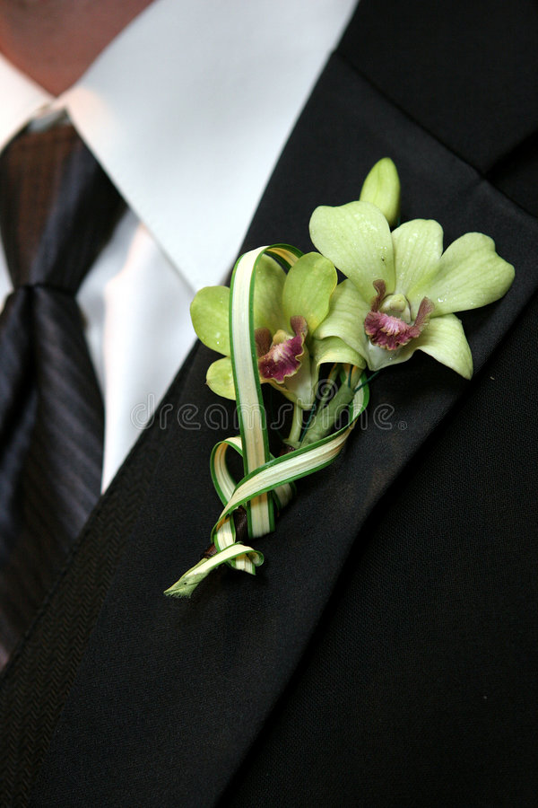 Groom's flowers stock photography