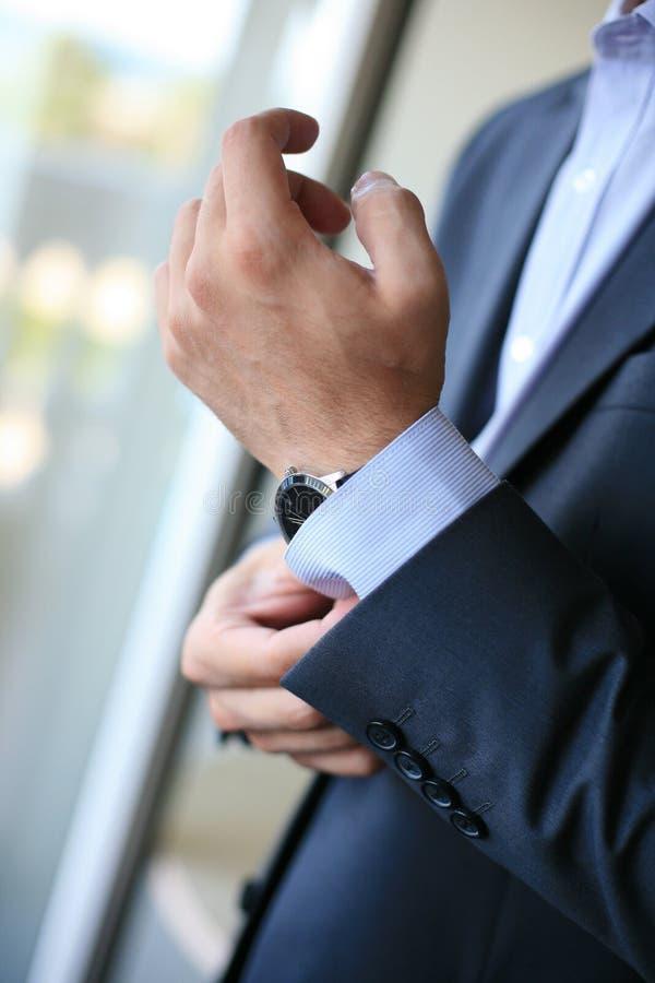 Groom S Hand With Watch Stock Photo