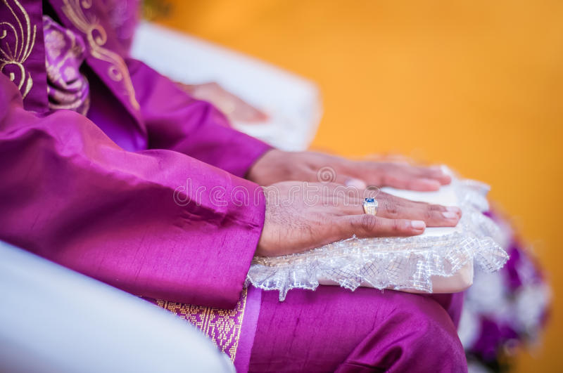 Groom S Hands On Lap Royalty Free Stock Image