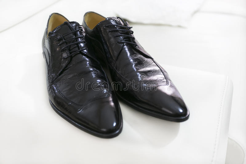 Groom's shoes stock images