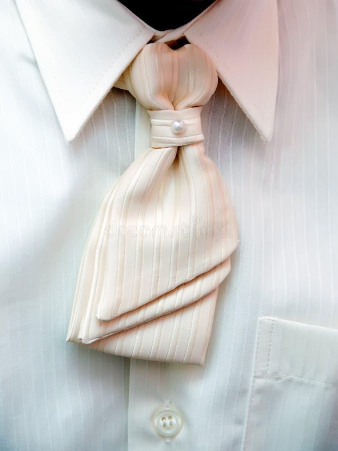 Groom's torso with white tie royalty free stock photo