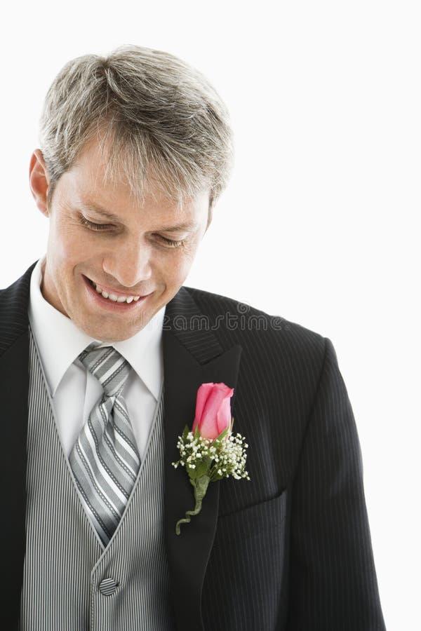 Groom in tuxedo. royalty free stock photography
