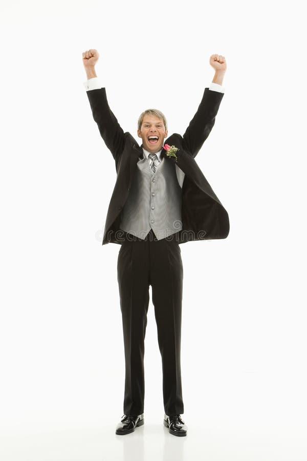 Groom in tuxedo. stock photo