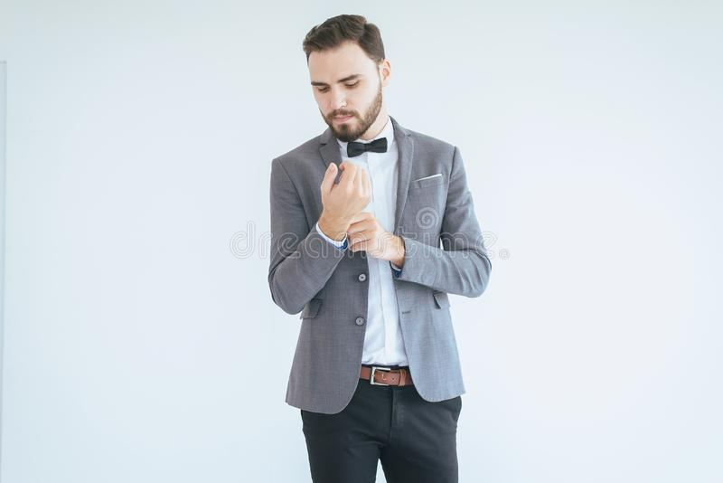Groom handsome with bearded in formal tuxedo and suit in wedding day royalty free stock images