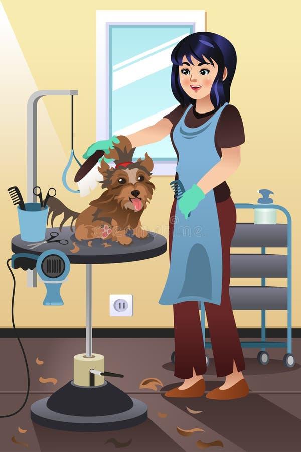 Groomer do animal de estimação que prepara um cão no salão de beleza ilustração do vetor