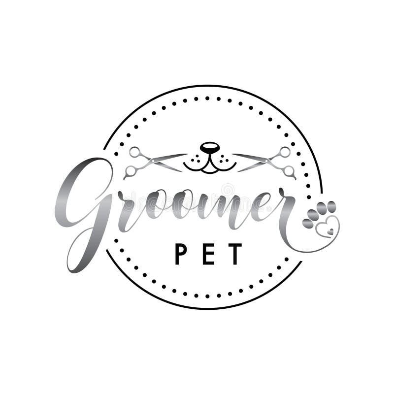 Groomerembleem voor het verzorgen dierenwinkel vector illustratie