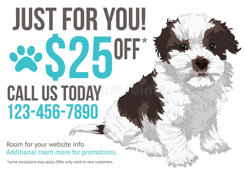 Grooming advertisement postcard template. Dog grooming postcard advertisement with cute puppy and coupon royalty free illustration