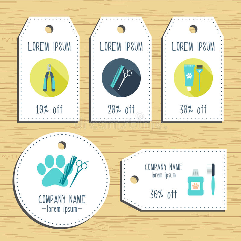 Free Grooming Discount Gift Tags. Ready To Use. Flat Design. Vector Stock Photo - 68641640