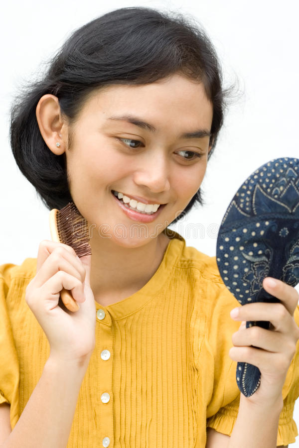 Grooming young woman stock photo