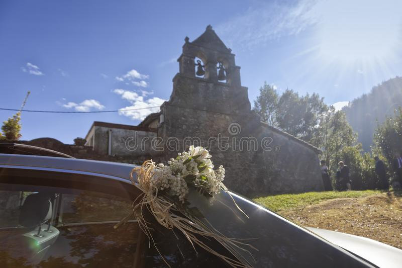 The grooms car of a wedding royalty free stock images