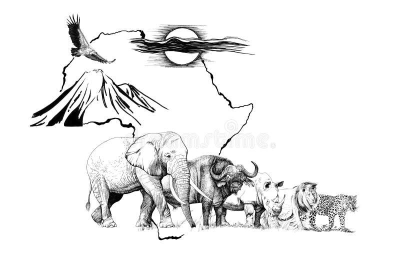 Groot Afrikaans dier vijf op de kaart van Afrika bakground met onderstel en zon Hand getrokken illustratie royalty-vrije illustratie