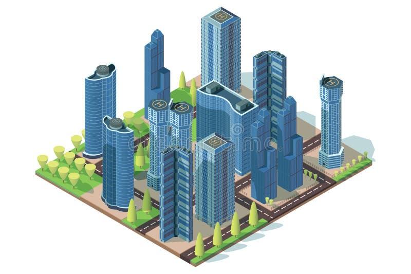 Groot bedrijfskwart met straten, steeg, wolkenkrabbers en helihaven stock illustratie