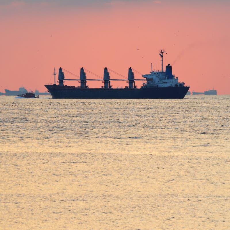 Groot begeleid vrachtschip stock foto