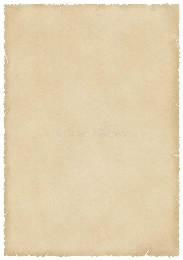 Groot bevlekt oud document met brandwond en gescheurde randen vector illustratie