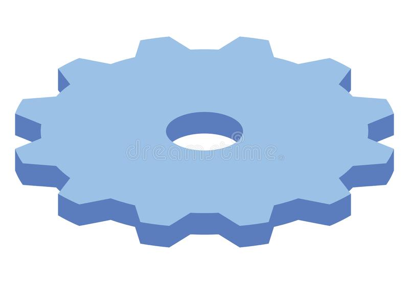 Groot blauw toestel isometrisch pictogram Modern het radertjewiel van het stijlconcept in vectorillustratie Machts en bedrijfsmec vector illustratie