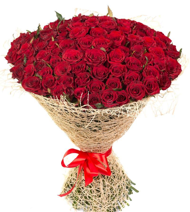 Groot boeket van rode rozen stock foto