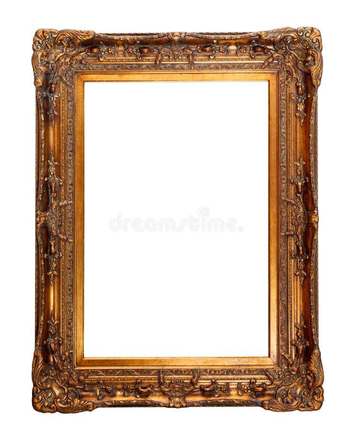 Groot, breed, antiek, gouden die kader met mooi, embos wordt verfraaid royalty-vrije stock foto