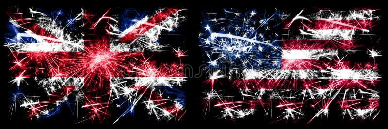 Groot-Brittannië, Groot-Brittannië versus de Verenigde Staten van Amerika, de Verenigde Staten, de viering van het Nieuwjaar van  royalty-vrije stock foto's